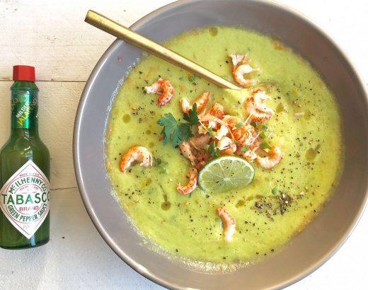 Recept The lemon kitchen met groene gazpacho met rivierkreeftjes en limoen en tabasco