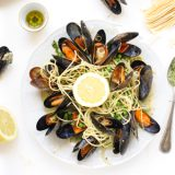 Citroen pasta met mossels in Pesto Roomsaus 'The Lemon Kitchen