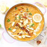 Indiase kokos curry met gebakken paneer & citroen 'The Lemon Kitchen