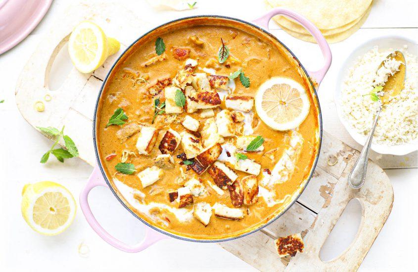 Indiase kokos curry met gebakken paneer & citroen