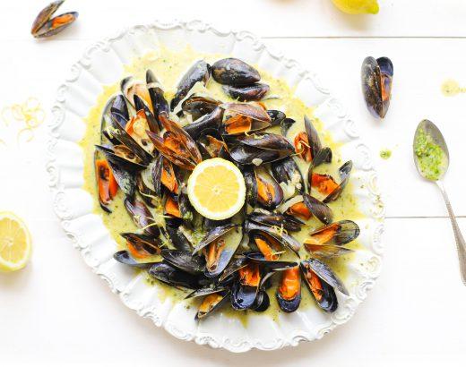 Mossels in pesto roomsaus met citroen 'The Lemon Kitchen