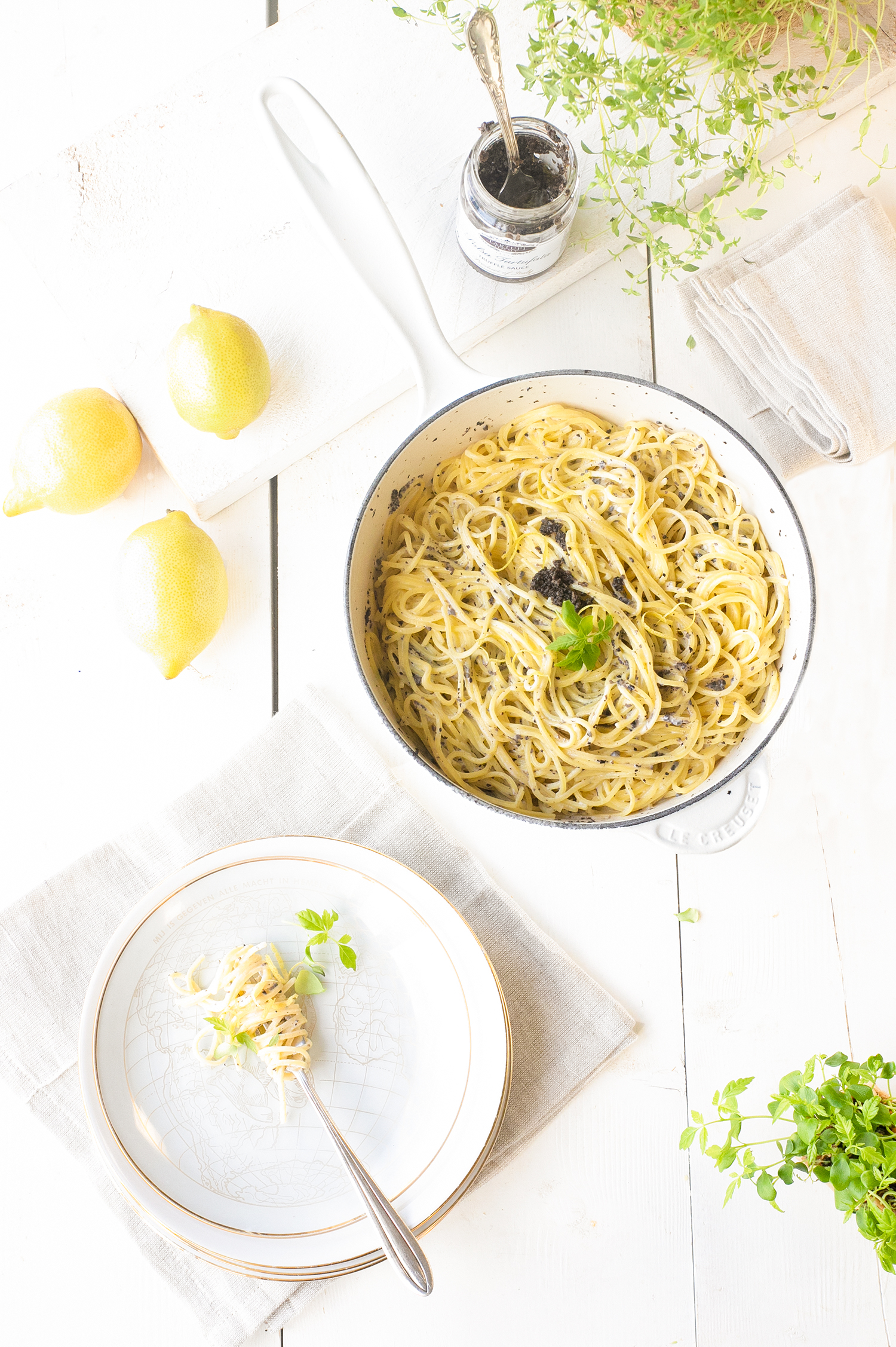 Truffel pasta met room en citroen 'The Lemon Kitchen