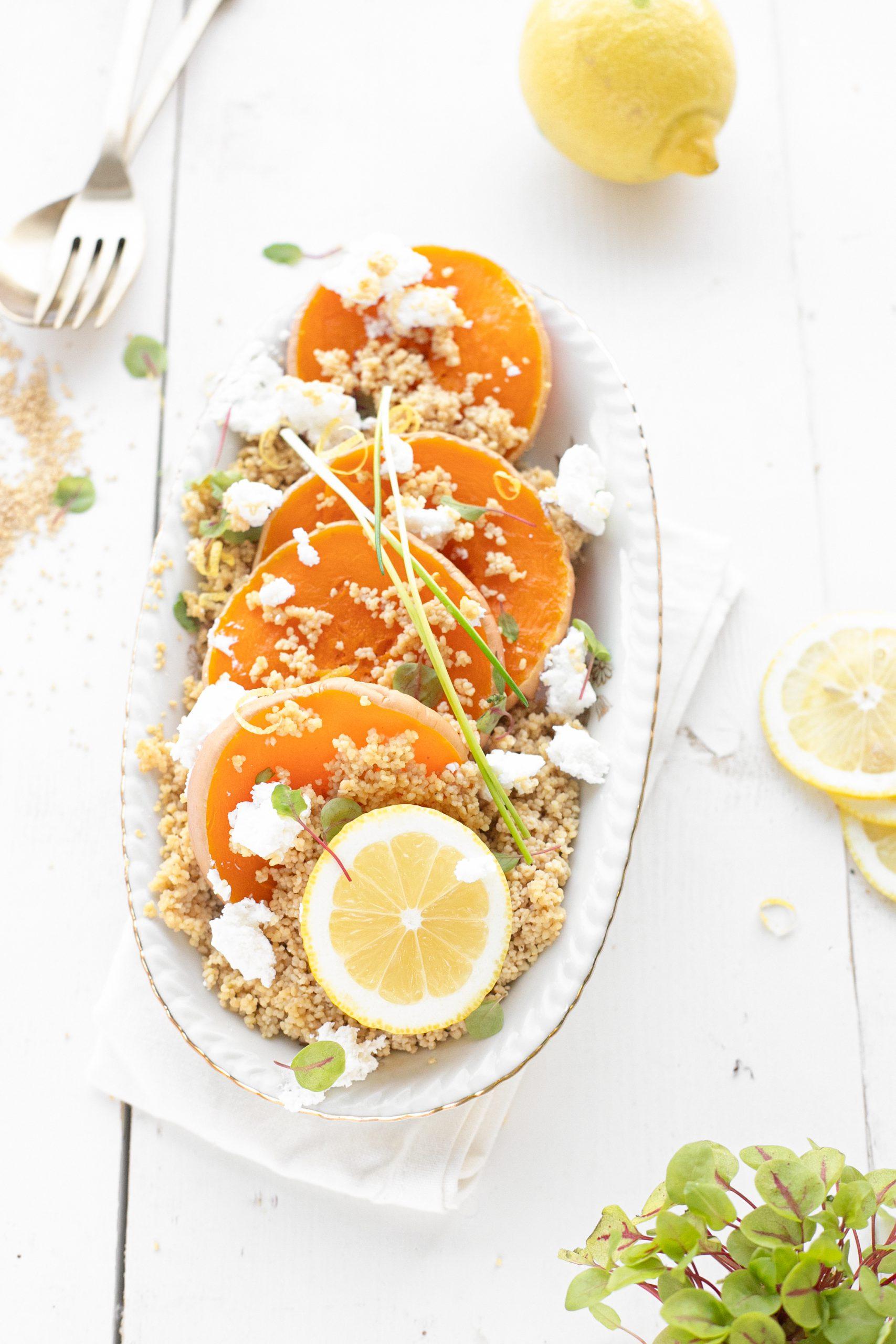 couscous salade met pompoen en geitenkaas 'the lemon kitchen