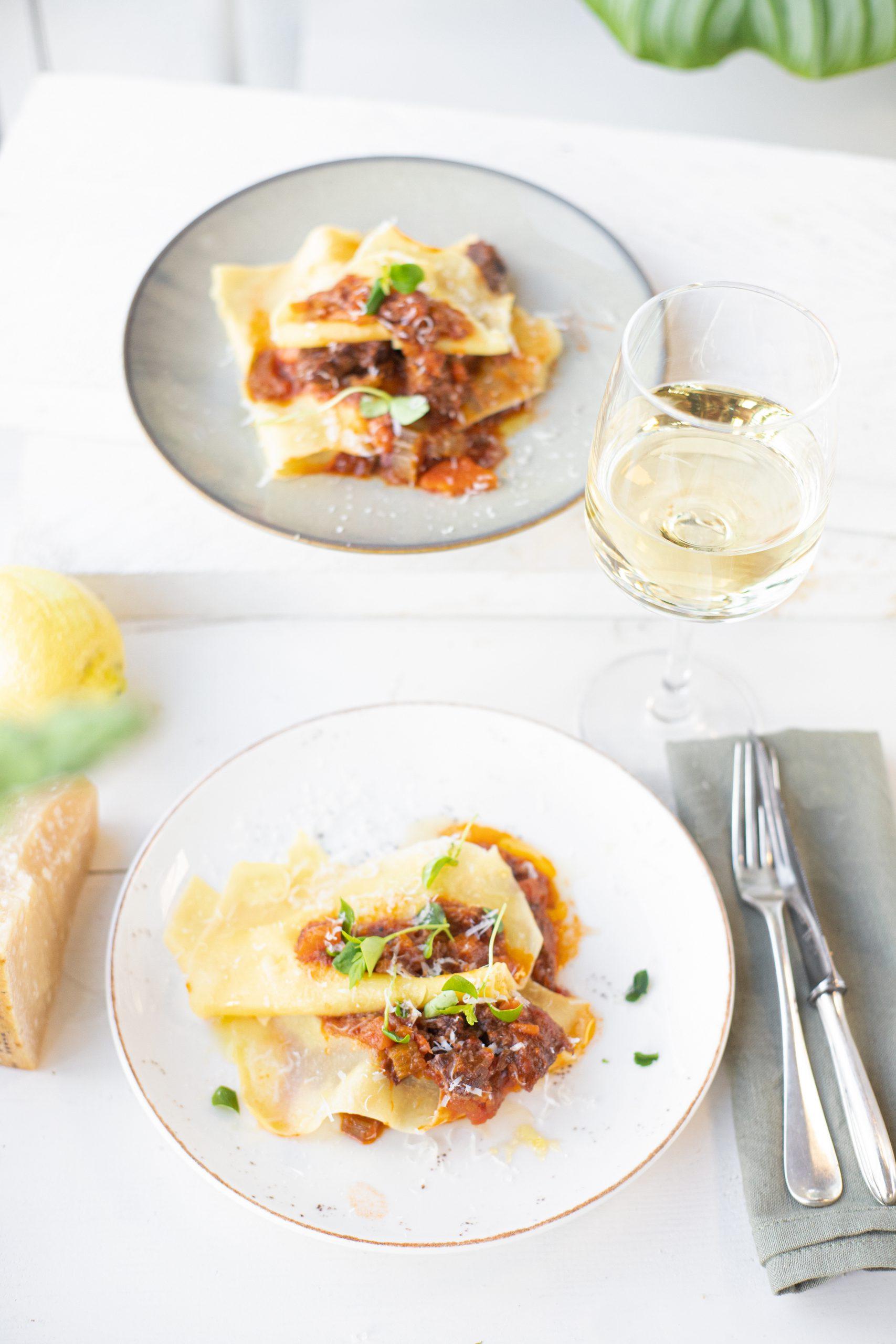 open lasagne met Italiaans stoofvlees 'The lemon Kitchen