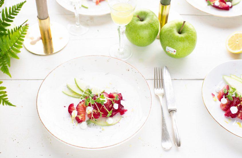 Zalm gemarineerd in rode biet, appel & limoncello