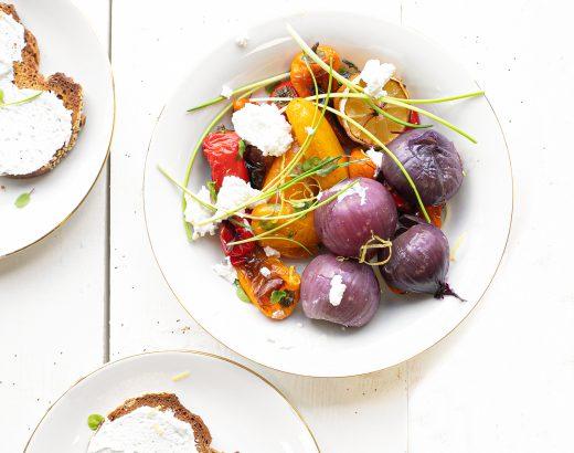 Groente uit de oven met citroen & geitenkaas