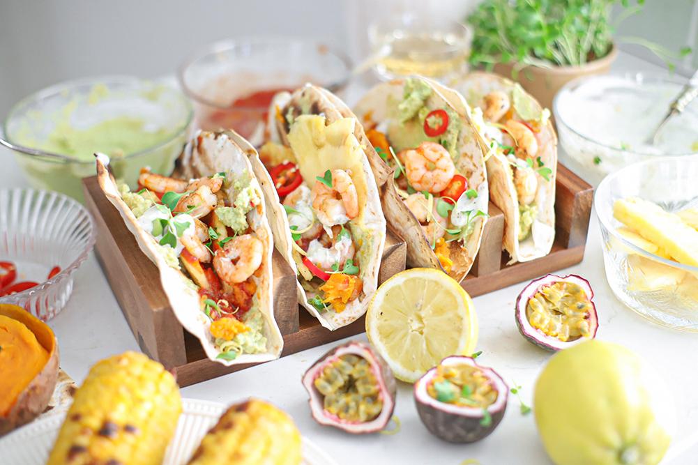 taco's met tequila gamba's en citroen zoete aardappel