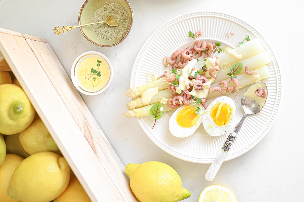 asperges met citroensaus & garnaaltjes