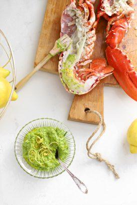 oosterschelde kreeft met lamsoren pesto citroen van de big green egg