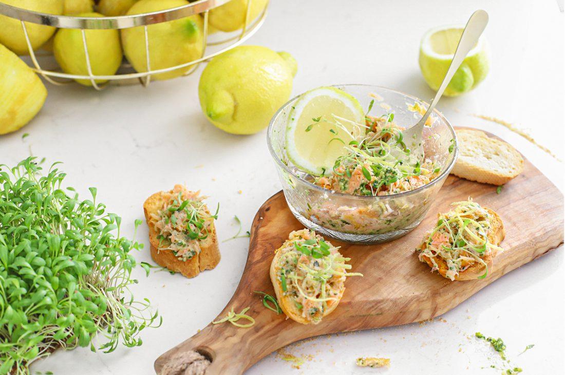 zalm van urk salade met pesto en citroen
