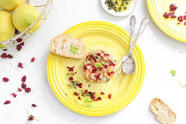 Zalm tartaar met cranberries & citroen