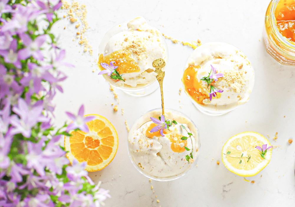 citroen cheesecake ijs met sinaasappel en tijm